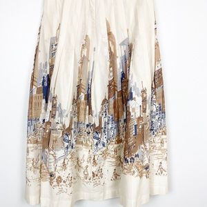 Talbots Long Skirt Tan & Ivory City Scene Maxi